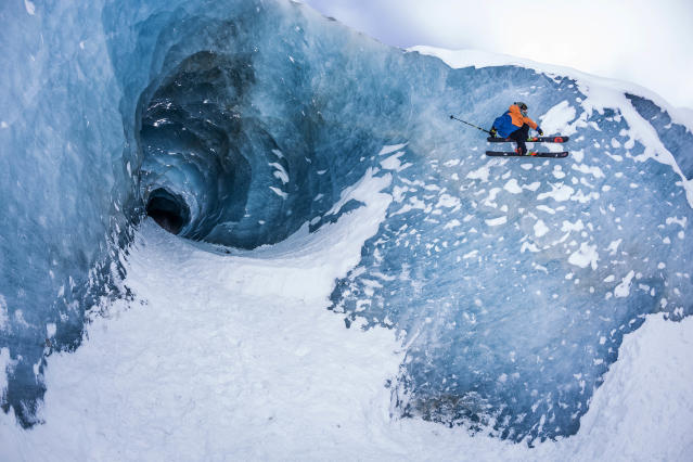 <p>Sam Favret skiing on an ice wall. (Photo: Jeremy Bernard/Caters News) </p>
