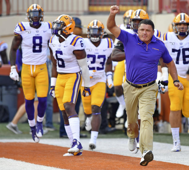 LSU moved up to No. 4 in the AP poll after beating Texas in Austin on Saturday night. (Hilary Scheinuk/The Advocate via AP)