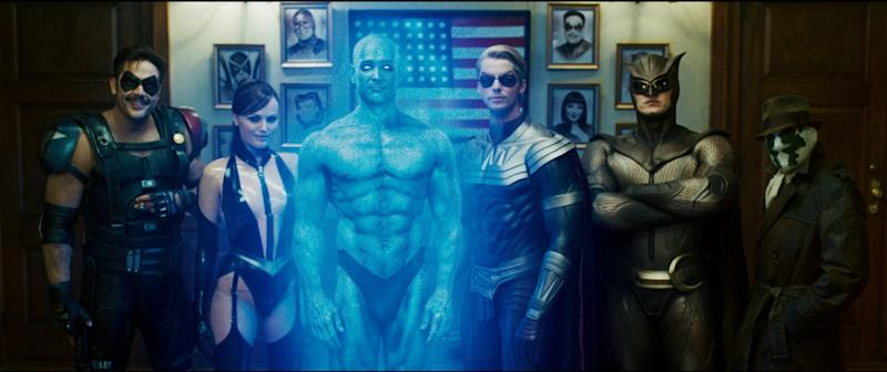 Jeffrey Dean Morgan, Malin Akerman, Billy Crudup, Matthew Goode, Patrick Wilson and Jackie Earle Haley in Watchmen (Universal Pictures 2009)