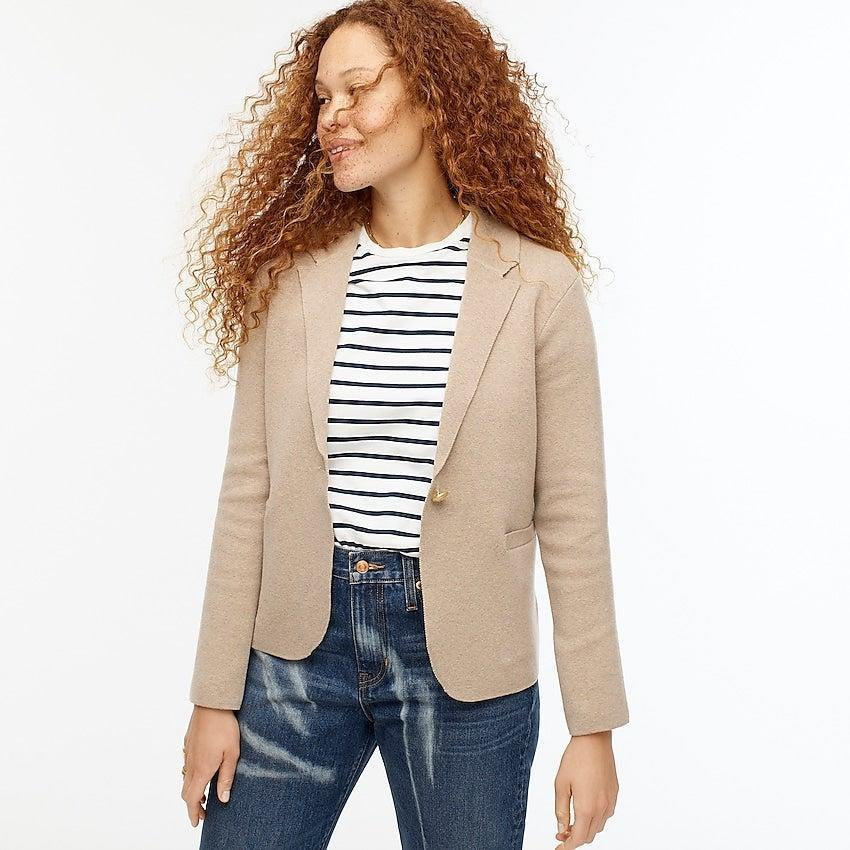 """<br><br><strong>J. Crew</strong> Camille shrunken sweater-blazer, $, available at <a href=""""https://go.skimresources.com/?id=30283X879131&url=https%3A%2F%2Fwww.jcrew.com%2Fp%2Fwomens%2Fcategories%2Fclothing%2Fsweaters%2Fsweater-blazers%2Fcamille-shrunken-sweater-blazer%2FAW687%3Fdisplay%3Dsale%26fit%3DClassic%26isFromSale%3Dtrue%26color_name%3Dhthr-sand%26colorProductCode%3DAW687"""" rel=""""nofollow noopener"""" target=""""_blank"""" data-ylk=""""slk:J. Crew"""" class=""""link rapid-noclick-resp"""">J. Crew</a>"""