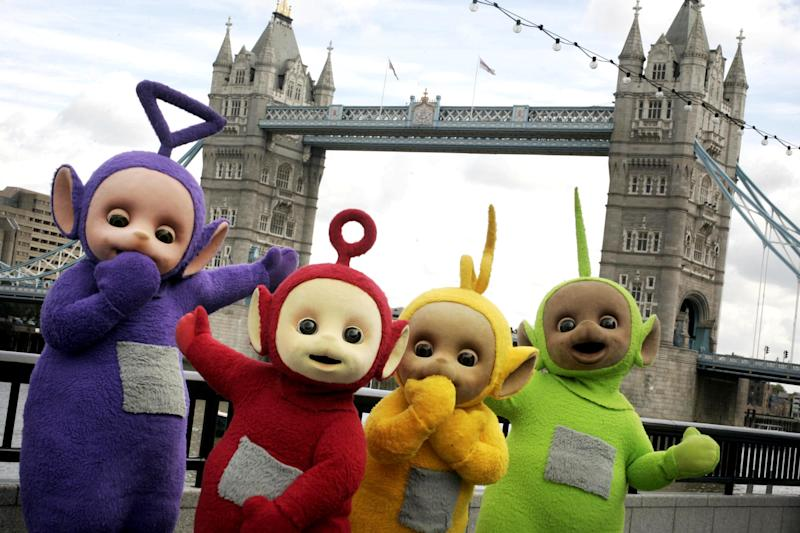TV favourites the Teletubbies arrived in London today Monday 3rd September for a sightseeing trip around some of the capital's most famous landmarks including Tower Bridge to celebrate their 10th year on television. L-R Tinky Winky, Po, Laa-Laa and Dipsy
