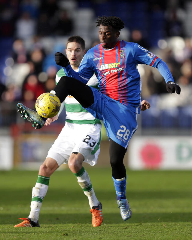 "Football Soccer - Inverness Caledonian Thistle v Celtic - Ladbrokes Scottish Premiership - Tulloch Caledonian Stadium - 29/11/15 Inverness Caledonian Thistle's Andrea Mbuyi Mutombo (R) in action with Celtic's Mikael Lustig Action Images via Reuters / Graham Stuart Livepic EDITORIAL USE ONLY. No use with unauthorized audio, video, data, fixture lists, club/league logos or ""live"" services. Online in-match use limited to 45 images, no video emulation. No use in betting, games or single club/league/player publications. Please contact your account representative for further details."