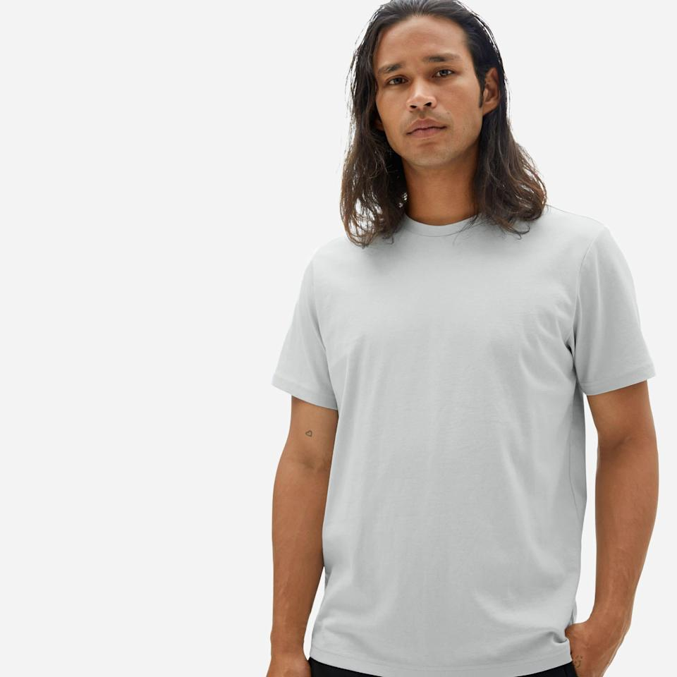 """<p><strong>Everlane</strong></p><p>everlane.com</p><p><strong>$30.00</strong></p><p><a href=""""https://go.redirectingat.com?id=74968X1596630&url=https%3A%2F%2Fwww.everlane.com%2Fproducts%2Fmens-premium-weight-crew-harbor-grey&sref=https%3A%2F%2Fwww.oprahdaily.com%2Flife%2Fg26961897%2Fgifts-for-new-dads%2F"""" rel=""""nofollow noopener"""" target=""""_blank"""" data-ylk=""""slk:Shop Now"""" class=""""link rapid-noclick-resp"""">Shop Now</a></p><p>Even if all he can manage to put on is a T-shirt and a pair of sweats, dad might as well look <em>and </em>feel good doing it. This super soft cotton tee fits the """"new dad uniform,"""" but is a step up from his collection of graphic tees from college. </p>"""