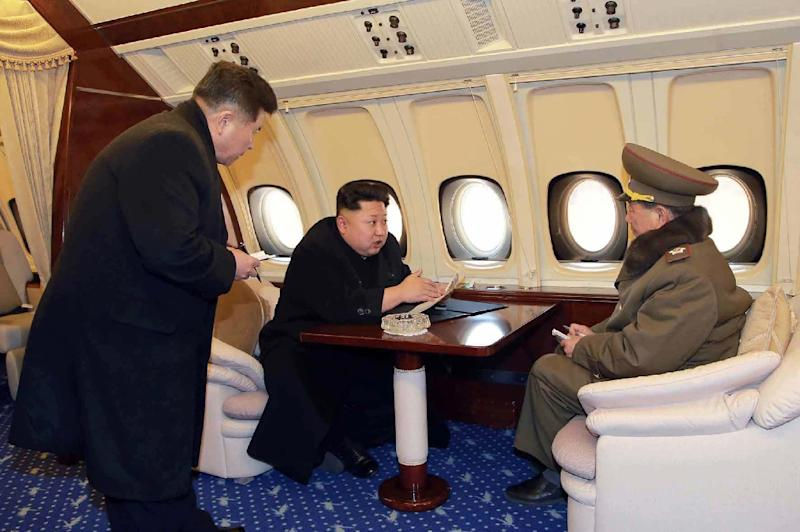 Unlike his father who reportedly had a fear of flying, Kim Jong Un has also travelled by plane (AFP Photo/KNS)
