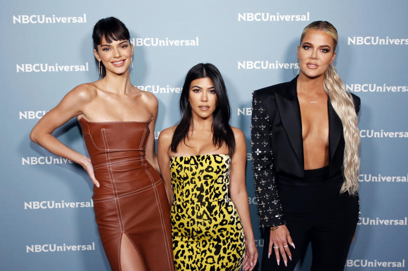 "NBCUNIVERSAL UPFRONT EVENTS -- 2019 NBCUniversal Upfront in New York City on Monday, May 13, 2019 -- Pictured: (l-r) Kendall Jenner, Kourtney Kardashian, Khloe Kardashian, ""Keeping up with The Kardashians"" on E! Entertainment -- (Photo by: Heidi Gutman/NBCUniversal)"