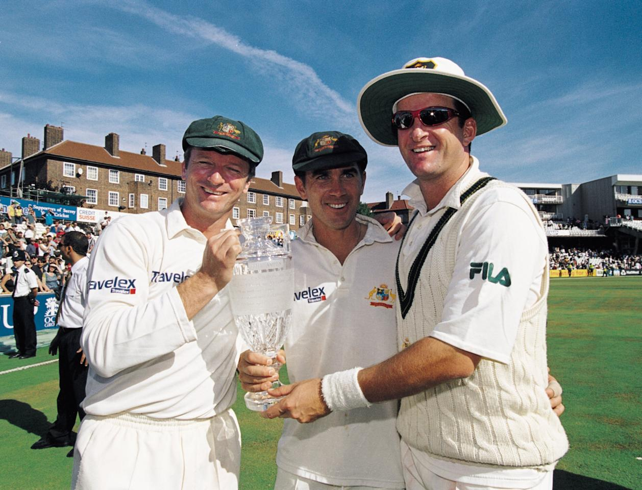 23 - 27 Aug 2001:  The three century makers (l to r) Steve Waugh, Justin Langer and Mark Waugh of Australia celebrate victory in the Fifth Ashes Test match between England and Australia played at The Oval in London.  Australia won the game by an inningsand 25 runs to win the 5-Test series 4-1. \ Mandatory Credit: Hamish Blair /Allsport