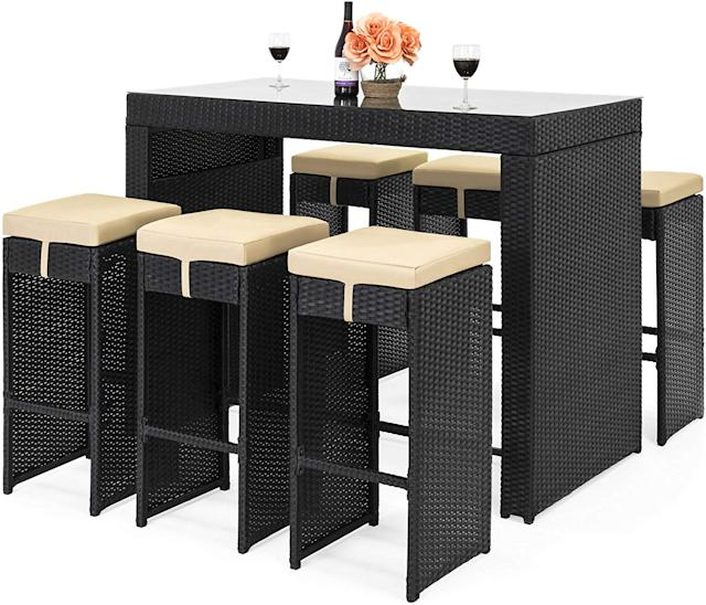Best Choice Products Rattan Bar Dining Set