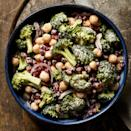 """<p>Simple steps give this broccoli salad recipe a more nuanced flavor: soaking the onion tempers its bite and toasting the cumin enhances its aroma. Serve alongside grilled chicken, pork or fish. <a href=""""http://www.eatingwell.com/recipe/259682/broccoli-chickpea-pomegranate-salad/"""" rel=""""nofollow noopener"""" target=""""_blank"""" data-ylk=""""slk:View recipe"""" class=""""link rapid-noclick-resp""""> View recipe </a></p>"""