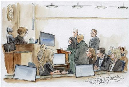 Colleen LaRose (C) addresses the court in this courtroom sketch during her sentencing hearing in Philadelphia, Pennsylvania January 6, 2014. LaRose, who calls herself Jihad Jane, was sentenced to 10 years in prison Monday for a failed al Qaeda-linked plot to kill a Swedish artist who had depicted the head of the Muslim Prophet Mohammad on a dog. REUTERS/Art Lien