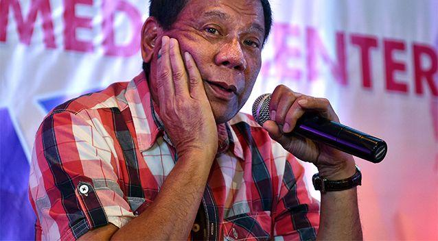 Rodrigo Duterte answers questions from journalists during a press conference on May 10, 2016 in Davao City. Photo: Getty Images/Jes Aznar