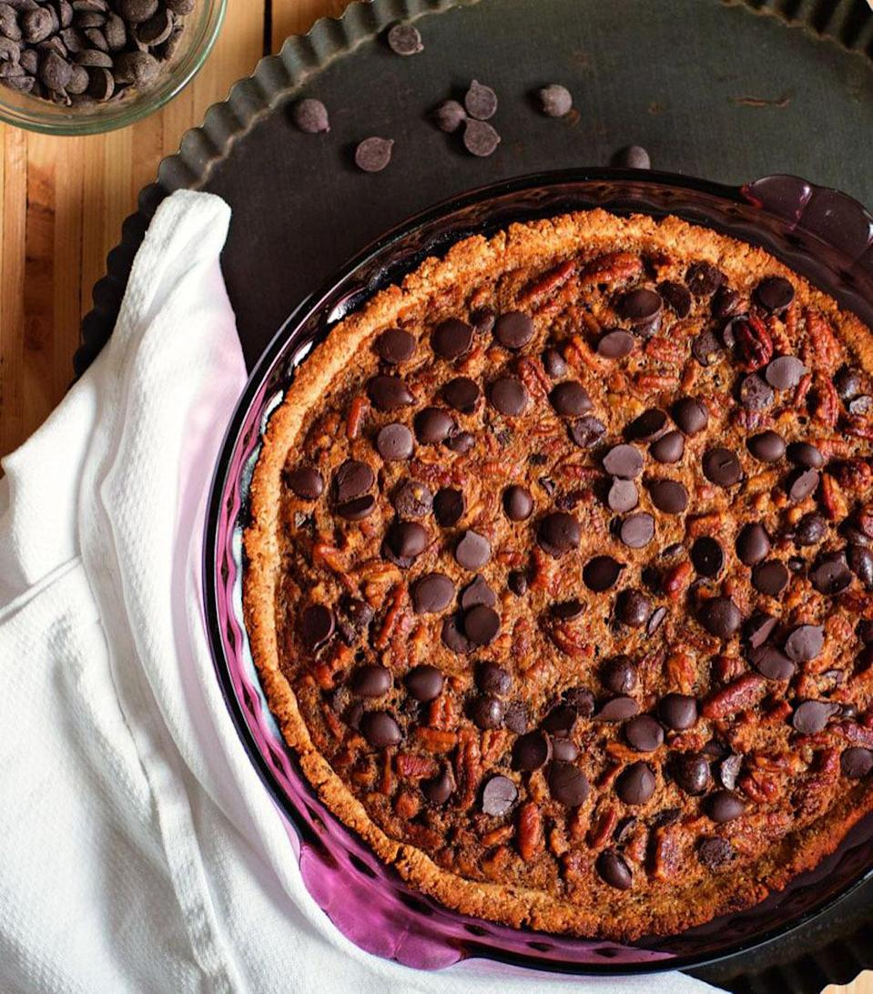 """<p>Who says you can't have pie if you're paleo? This Southern treat, made with cashew meal, pecans, maple sugar and dairy-free chocolate chips, gives the traditional version a run for its money. <a href=""""https://www.yahoo.com/food/chocolate-chip-georgia-pecan-pie-from-down-south-165556150.html"""" data-ylk=""""slk:Here's how to make the Chocolate Chip Georgia Pecan Pie.;outcm:mb_qualified_link;_E:mb_qualified_link;ct:story;"""" class=""""link rapid-noclick-resp yahoo-link""""><b>Here's how to make the Chocolate Chip Georgia Pecan Pie</b>.</a> (<i>Photo: Stephanie Gaudreau) </i></p>"""