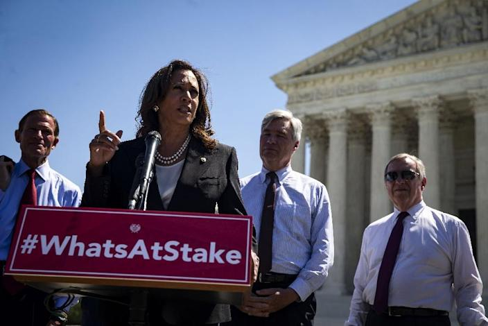 Democratic Senator Kamala Harris has sought to rally lawmakers, including moderate Republicans, in opposition of Judge Brett Kavanaugh, who was nominated by President Donald Trump to be the next justice on the US Supreme Court (AFP Photo/Al Drago)