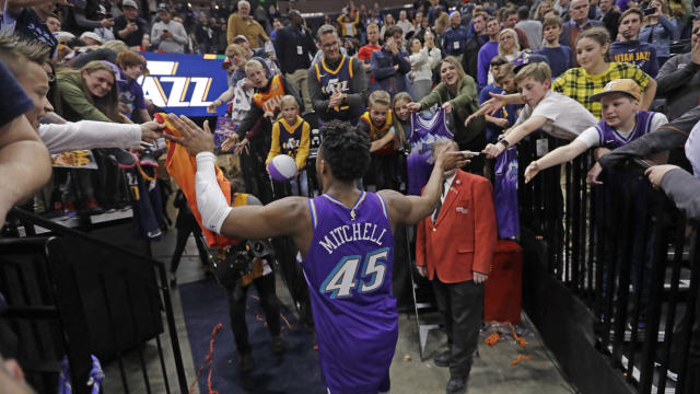 Utah Jazz guard Donovan Mitchell (45) walks off the court following the team's NBA basketball game against the Golden State Warriors on Friday, Nov. 22, 2019, in Salt Lake City. (AP Photo/Rick Bowmer)