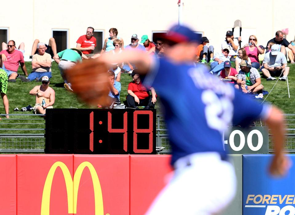 MLB plans to implement a pitch clock and stricter rules on mound visits in the 2018 season. (Getty Images)
