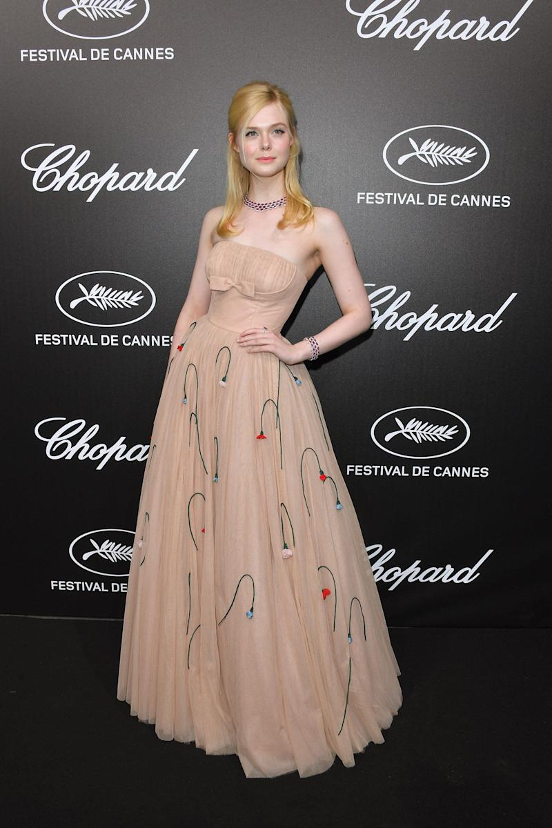 CANNES, FRANCE - MAY 20: Elle Fanning attends the The Chopard Trophy event during the 72nd annual Cannes Film Festival on May 20, 2019 in Cannes, France. (Photo by George Pimentel/WireImage)