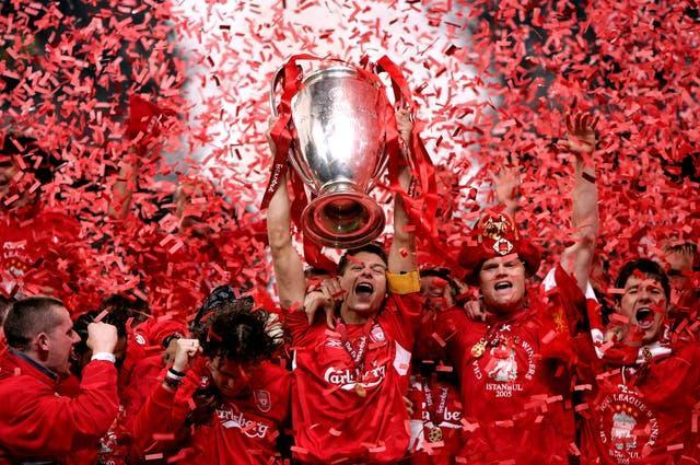 Liverpool captain Steven Gerrard lifts the trophy after victory in the 2005 Champions League final