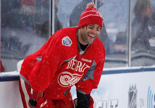 ANN ARBOR, MI - DECEMBER 31: (EDITORIAL USE ONLY) Todd Bertuzzi #44 of the Detroit Red Wings looks on at practice during 2014 Bridgestone NHL Winter Classic at Michigan Stadium on December 31, 2013 in Ann Arbor, Michigan. (Photo by Gregory Shamus/Getty Images)