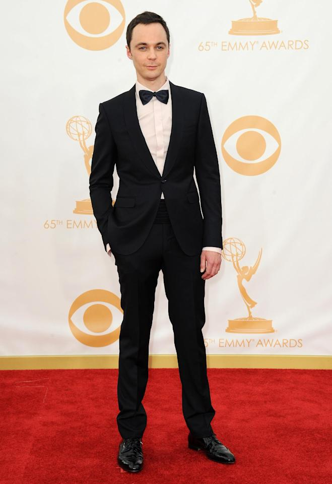 Jim Parsons arrives at the 65th Primetime Emmy Awards at Nokia Theatre on Sunday Sept. 22, 2013, in Los Angeles. (Photo by Jordan Strauss/Invision/AP)