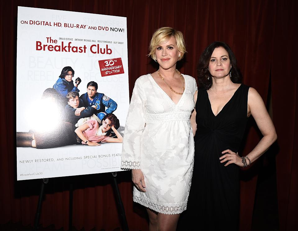"AUSTIN, TX - MARCH 16:  Actress Molly Ringwald (L) and actress Ally Sheedy attend ""The Breakfast Club"" 30th Anniversary Restoration world premiere during the 2015 SXSW Music, Film + Interactive Festival at the Paramount Theatre on March 16, 2015 in Austin, Texas.  (Photo by Michael Buckner/Getty Images for SXSW)"