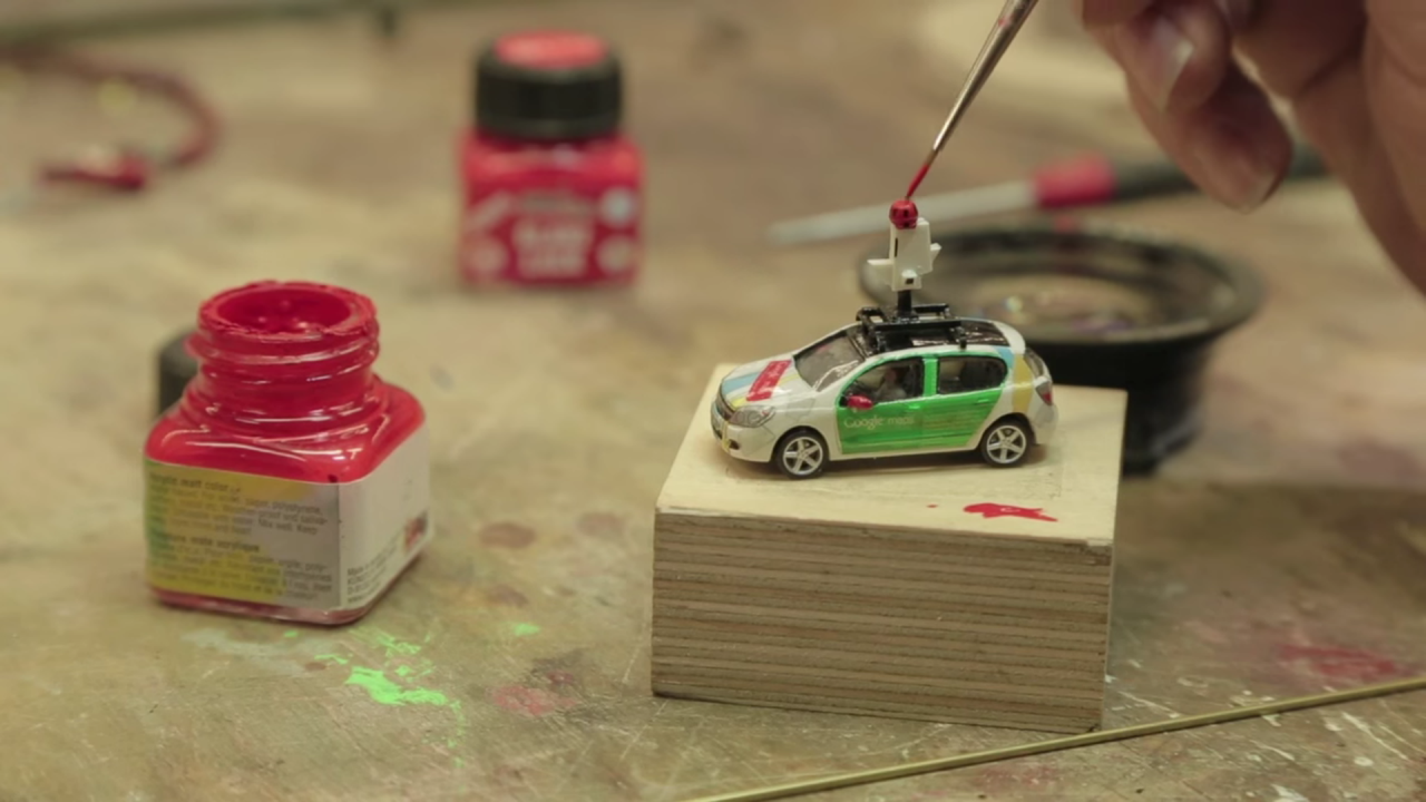 <p>Google and mapping software company Unilabs built a tiny Street View car with a tiny mounted camera to capture the sprawling model world. (Business Insider) </p>