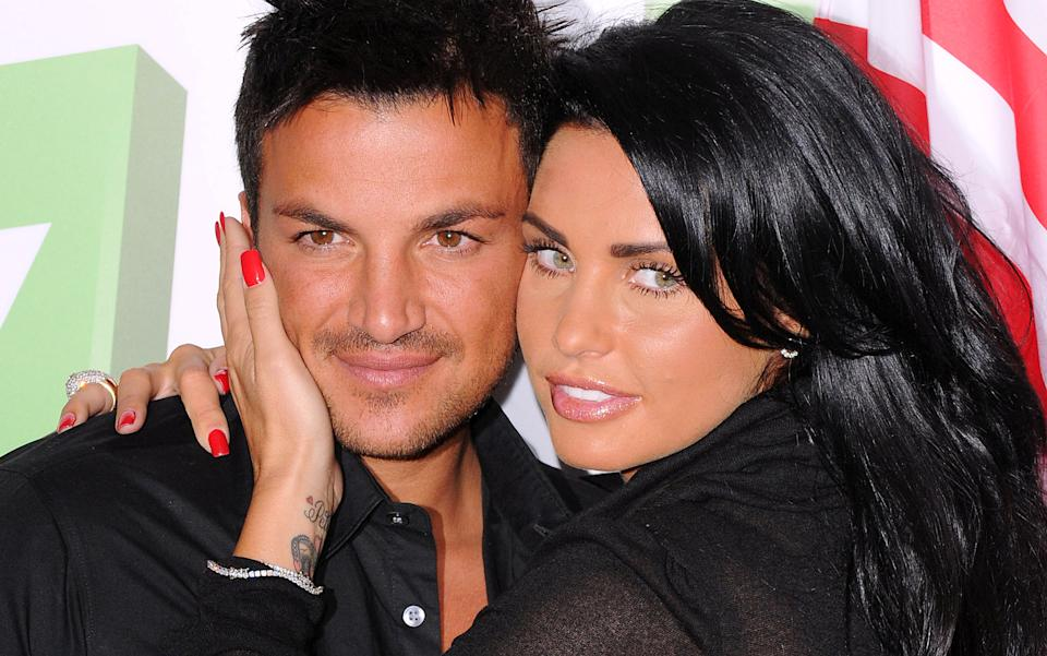 LONDON - APRIL 14: Peter Andre and Katie Price pose at the 'Katie And Peter: The Next Chapter Stateside' photocall at the Soho Hotel on April 14, 2009 in London, England. (Photo by Eamonn McCormack/WireImage)