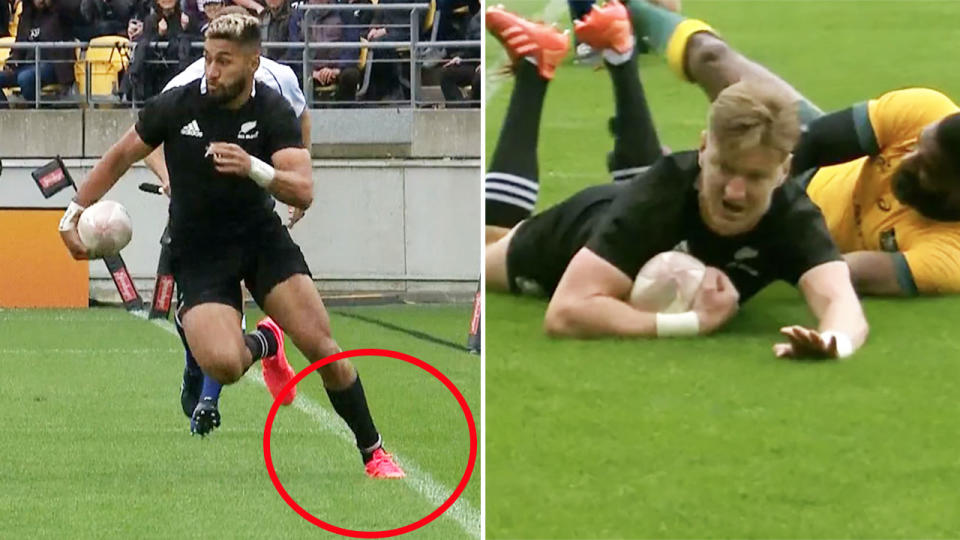 Reiko Ioane, pictured here stepping into touch before Jordie Barrett's try.