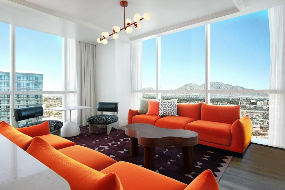 The hip Virgin Hotels Las Vegas only opened in March 2021, but you can snag a room at a great price during Expedia's sale.