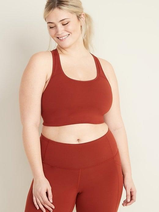 <p>Move your body in this <span>Old Navy Medium-Support Plus-Size Racerback Sports Bra</span> ($23).</p>