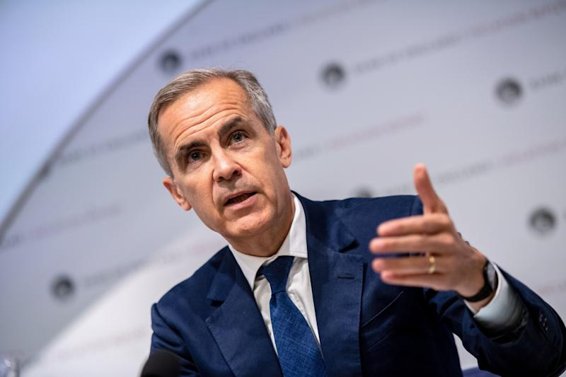 Mark Carney, governor of the Bank of England (BOE), speaks at the bank's quarterly inflation report news conference in the City of London in London on Augst 1, 2019. - Bank of England governor Mark Carney warned on Thursday of the risks of leaving the European Union with no deal as the institution lowered its economic growth forecasts for 2019 and 2020. (Photo by Chris J Ratcliffe / POOL / AFP) (Photo credit should read CHRIS J RATCLIFFE/AFP/Getty Images)
