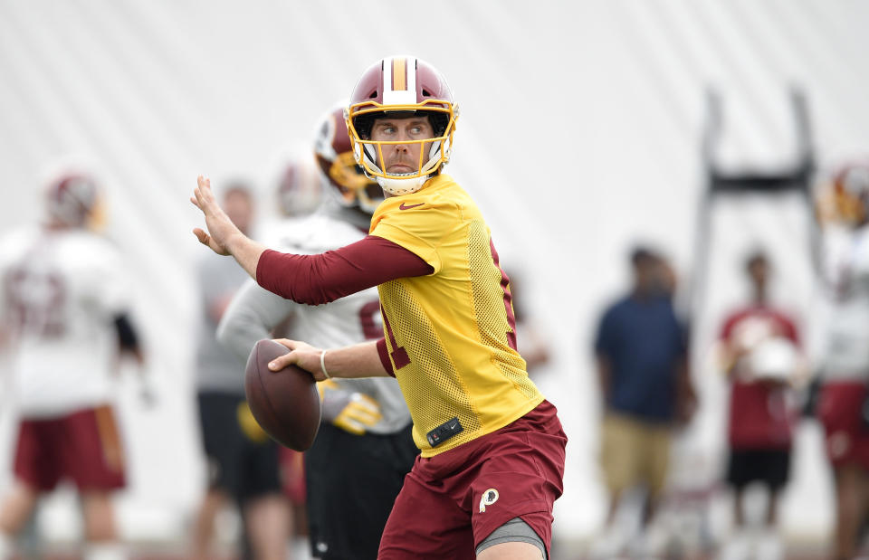 Alex Smith was a new man last season. He'll need to maintain that 2017 level of performance if he's going to adequately replace Kirk Cousins. (AP Photo/Nick Wass)