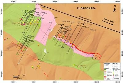 Figure 3: El Orito Drill Hole Locations (CNW Group/GoGold Resources Inc.)
