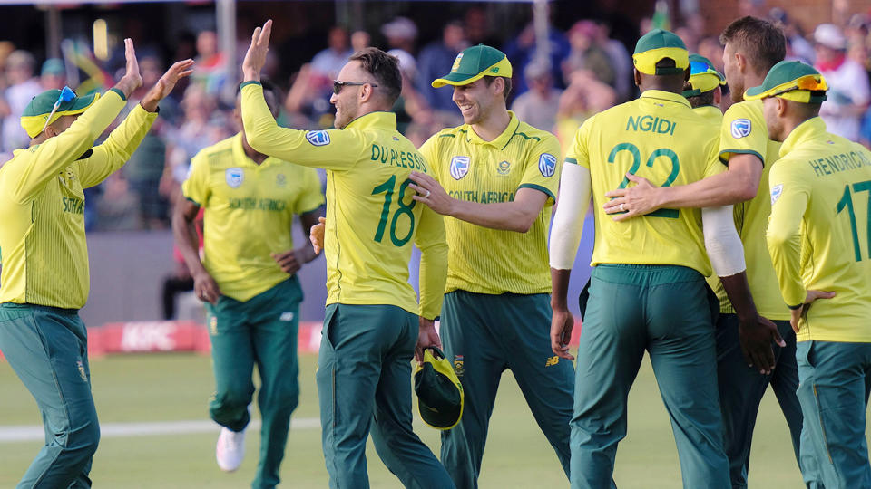 Faf du Plessis, pictured here celebrating Steve Smith's wicket in the second T20.