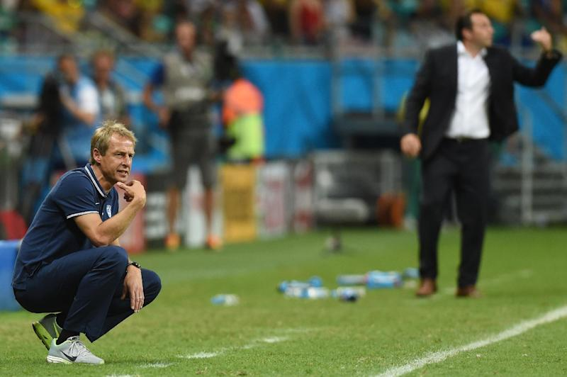 US German coach Jurgen Klinsmann looks on during a Round of 16 football match between Belgium and USA at Fonte Nova Arena in Salvador during the 2014 FIFA World Cup on July 1, 2014