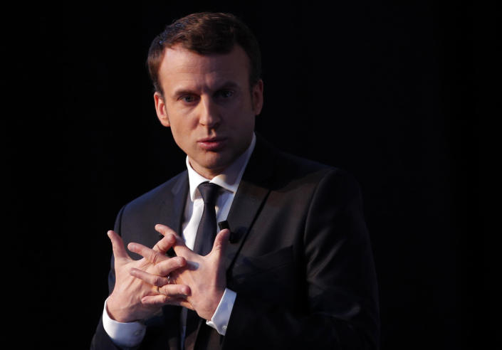 Independent centrist presidential candidate Emmanuel Macron addresses the media during a press conference held in Paris, Thursday, March 2, 2017. With just 52 days left before French voters choose their president, the man leading polls is only now releasing his campaign platform. (AP Photo/Christophe Ena)