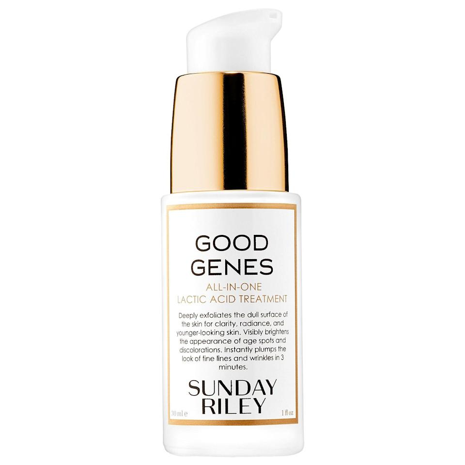 """<p><strong>Sunday Riley Good Genes All-In-One Lactic Acid Treatment</strong></p><p>sephora.com</p><p><strong>$105.00</strong></p><p><a href=""""https://go.redirectingat.com?id=74968X1596630&url=https%3A%2F%2Fwww.sephora.com%2Fproduct%2Fgood-genes-all-in-one-lactic-acid-treatment-P309308&sref=https%3A%2F%2Fwww.harpersbazaar.com%2Fbeauty%2Fskin-care%2Fg19738338%2Fbest-skin-care-brands%2F"""" rel=""""nofollow noopener"""" target=""""_blank"""" data-ylk=""""slk:Shop Now"""" class=""""link rapid-noclick-resp"""">Shop Now</a></p><p>Sunday Riley destroys the notion that natural products are less effective than their more chemical-y counterparts. With catchy product names like Luna, Juno, and UFO—it's no wonder the brand is a staple on the bathroom shelves of It-girls everywhere. </p>"""