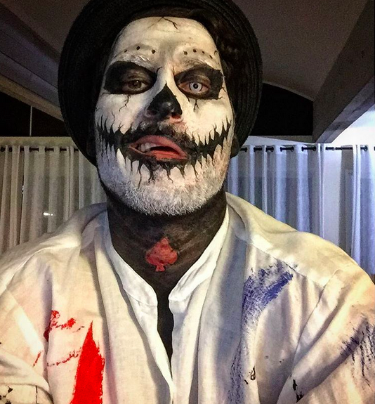 <p>What — no couple costume with Amber Rose? The dancer put on a spooky display with his black-and-white makeup — and ran around Hollywood with his boys. (Photo: Instagram) </p>