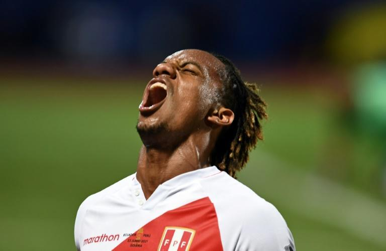 Peru's Andre Carrillo celebrates after scoring the equalizing goal against Ecuador in a 2-2 draw Wednesday in their Copa America football tournament group stage match