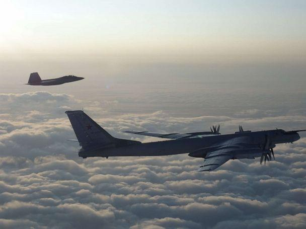 PHOTO: U.S. and Canadian military aircraft intercepted two Russian Tu-95 Bear bombers that entered the Alaskan and Canadian Air Defense Identification Zones on August 8, 2019, according to North American Aerospace Defense Command (U.S. Defense Department)