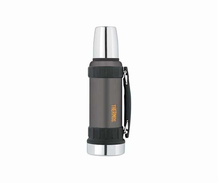 """<p><strong>Thermos</strong></p><p>amazon.com</p><p><strong>$42.85</strong></p><p><a href=""""https://www.amazon.com/dp/B00HC01PZU?tag=syn-yahoo-20&ascsubtag=%5Bartid%7C10060.g.24445809%5Bsrc%7Cyahoo-us"""" rel=""""nofollow noopener"""" target=""""_blank"""" data-ylk=""""slk:Shop Now"""" class=""""link rapid-noclick-resp"""">Shop Now</a></p><p>There's a reason the Thermos brand is synonymous with insulated bottles and food containers. This bottle is durable enough to bring to the workshop and will keep its contents hot or cold for 24 hours.</p>"""