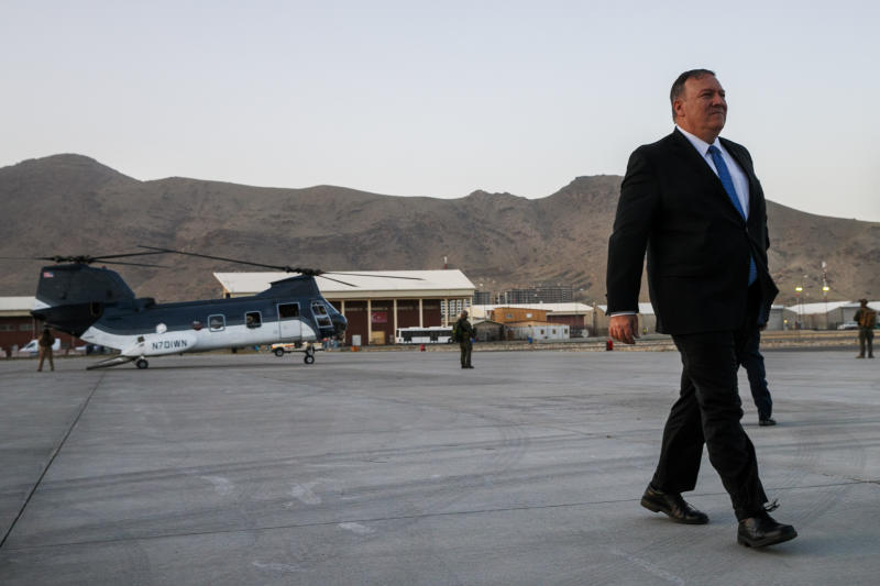 Secretary of State Mike Pompeo walks from a helicopter to return to his plane, Tuesday, June 25, 2019, at the end of an unannounced visit to Kabul, Afghanistan. He is expected to head next to New Delhi, India. (AP Photo/Jacquelyn Martin, Pool)