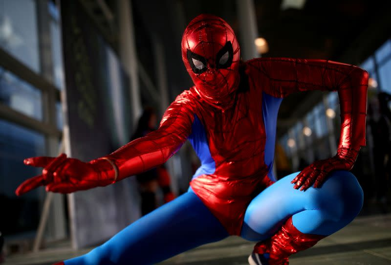 FILE PHOTO: A cosplayer costumed as Spider-Man poses during the Vienna Comic Con