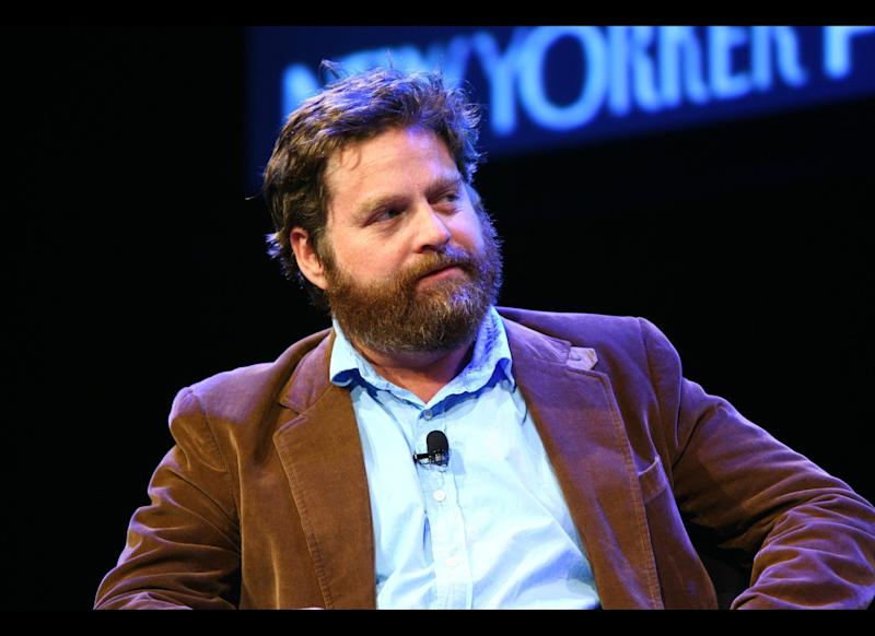 Zach Galifianakis speaks on stage with Andy Borowitz during The 2011 New Yorker Festival: In Conversation with Zach Galifianakis at Acura at SIR Stage37 on October 1, 2011 in New York City. (Photo by Neilson Barnard/Getty Images for The New Yorker)