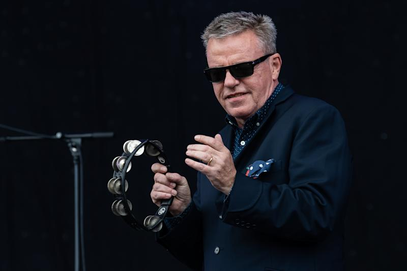 NEWPORT, ISLE OF WIGHT - JUNE 16: Suggs of Madness performs on main stage during Isle of Wight Festival 2019 at Seaclose Park on June 16, 2019 in Newport, Isle of Wight. (Photo by Carla Speight/Redferns)