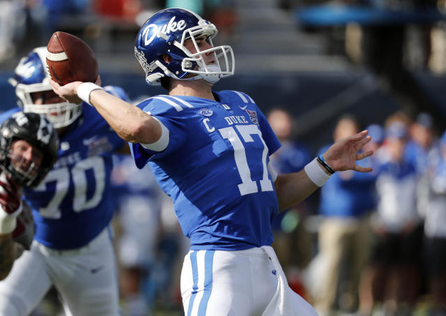 At 6-foot-5 and 220 pounds, Duke's Daniel Jones has the size many NFL talent evaluators want in quarterbacks. (AP)