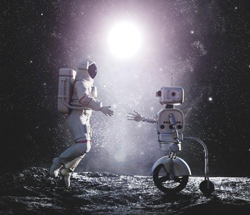 "<span class=""caption"">Various types of astronaut assistant are in development.</span> <span class=""attribution""><a class=""link rapid-noclick-resp"" href=""https://www.shutterstock.com/image-illustration/astronaut-robot-artificial-intelligence-handshake-on-1424259551"" rel=""nofollow noopener"" target=""_blank"" data-ylk=""slk:Michal Bednarek/shutterstock.com"">Michal Bednarek/shutterstock.com</a></span>"