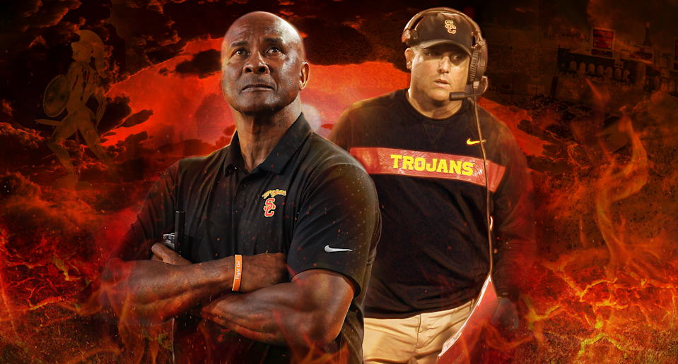 Lynn Swann and Clay Helton both have to be feeling the heat heading into this college football season. (Yahoo Sports illustration)
