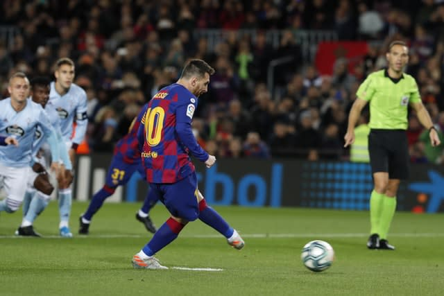 Messi had opened the scoring from the penalty spot (Joan Monfort/AP)