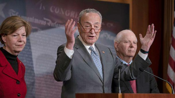 PHOTO: Senate Minority Leader Chuck Schumer, D-N.Y. speaks during a news conference about the impeachment trial of President Donald Trump on charges of abuse of power and obstruction of Congress, at the Capitol, Jan. 27, 2020. (J. Scott Applewhite/AP)