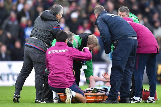 Kevin De Bruyne was carried off on a stretcher. (Getty)