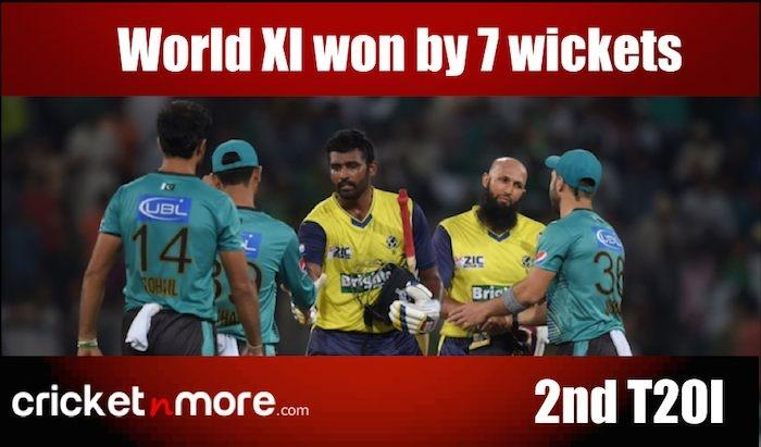 <p>Sept. 14 (CRICKETNMORE) - Sri Lanka all-rounder Thisara Perera and South African star batsman Hashim Amla guided World XI to a thrilling seven-wicket win over Pakistan in the second Twenty20 on Wednesday.</p>